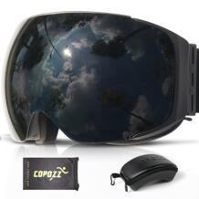 брендовые магнитные лыжные очки для сноуборда с чехлом, 100% противотуманные UV400 двойные линзы, защита для мужчин и женщин, лыжные очки для снежной погоды-in Лыжные очки from Спорт и развлечения on AliExpress COPOZZ 32834856450
