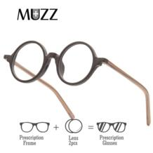 очками круглый мужские очки в оправе ультра-легкий Винтаж имитация деревянная оправа очки с ацетатными линзами объектива MUZZ 32962034039