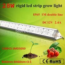 Лидер продаж гидропонная установка tissure культуры огни 28.8 Вт SMD 5050 жесткой Светодиодные полосы растут рассады и роста 660nm и 460nm No name 1475451497