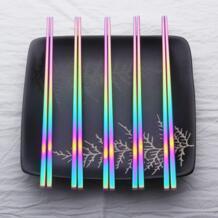 4 шт 8 шт радужные палочки для еды 304 из нержавеющей стали японские китайские красочные Хаши Чоп палочки корейские анти ожоги многоразовые палочки Lekoch 32852331365