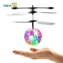 красочные мини Drone сверкающих светодиодный RC летающий мяч-вертолет Сенсорная лампа хрустальный шар индукционные игрушки для Для детей VICIVIYA 32816360372