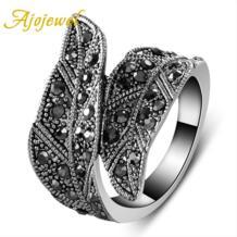 Модное Черный CZ лист широкое кольцо женские украшения Винтаж Ajojewel 982804938