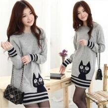 2016 модный свитер для Для женщин Зимний пуловер Вязание женщина свитер леди большие размеры кот лицо серый No name 1069595744