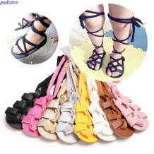 Для новорожденных одежда для малышей для девочек кожа повязки Сандалии для девочек Летняя коляска без каблука Обувь удобные мягкие коляска Обувь одежда pudcoco 32815193257