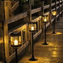 80 см в японском стиле cолнечная Свеча лампа для газона светодиодная Водонепроницаемая наружная садовая лампа украшение ландшафтное освещение дорожка свет No name 32867580161