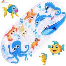 39 см x см 69 см Коврик для купания младенцев Противоскользящий ПВХ мультфильм Ванна коврик с присоской малыш Рыба Ванна коврик MustHome 32825918637
