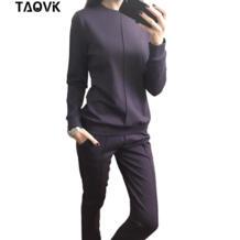 новые модные женские осенние спортивный костюм женские толстовки 2-Piece Set футболки + длинные брюки) Костюмы для отдыха TAOVK 32801920939