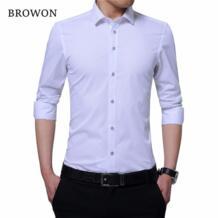 мужская деловая рубашка умная Повседневная рубашка вышитый воротник с длинным рукавом однотонная мужская деловая рубашка Camisa Masculina BROWON 32831678322