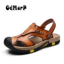 Odmorp новый летний Обувь Для мужчин; кожаные сандалии коричневый Повседневное пляжные сандалии Шлёпанцы для женщин без каблука модные Дизайн Сандалии для девочек Мужская обувь No name 32657676146