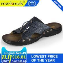 Merkmak/Новинка 2018 года, мужская пляжная обувь из натуральной кожи, Вьетнамки, мужская повседневная обувь на плоской подошве, сандалии, летние шлепанцы для мужчин No name 32662024633