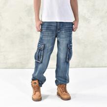 Модные мужские мешковатые джинсы в стиле хип-хоп 2016, большие размеры 30-46, несколько карманов, рабочие джинсы для скейтборда, мужские тактические джоггеры из денима Lance Donovan 32683745065