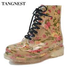 /2018 г. женские непромокаемые сапоги весенняя обувь на резиновой подошве с круглым носком ботильоны с леопардовым принтом и цветочным принтом женские большие размеры 36-40, XWX2327 TANGNEST 32352120209