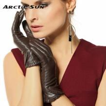 Осень-зима Для женщин из натуральной кожи перчатки Женская мода тренд козьей кожи теплой бархатной подкладке водительские перчатки L001NC No name 2051303201