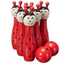Кепка деревянный шар для боулинга развлекательная игра детская игрушка, красный No name 32819853627