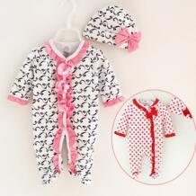 Новорожденных для маленьких девочек хлопок Footies с Кепки рюшами с бантом 1 предмет целом пижамы для маленьких девочек подарок на день рождения комплект 3 м 6 м 9 м No name 32862907568