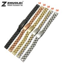 Мм 10 мм 12 14 доступны дамы Размеры Черный Нержавеющая сталь часы ремешок прямой конец браслет zhuolei 32319569067