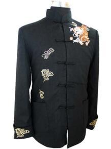 Черный китайский Стиль Для Мужчин's вышивать куртка Кунг-фу пальто рубашка с Dragon yf1140 No name 613591627