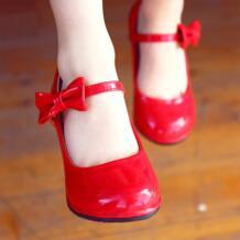 Вечерние кожаные туфли принцессы на высоком каблуке для девочек; сезон весна-осень; модные Нескользящие красные туфли на высоком каблуке с бантом для девочек STUVHVU 32844109200