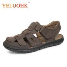 Модные Летние босоножки мужские летние туфли мужские сандалии кожаные светло-коричневый, темно-коричневый No name 32624748763