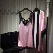 2019 весна лето сексуальные полосатые розовые пижамы Ночная рубашка женская имитация шелка халат сверлильный комплект из двух предметов пижамы Chimavvi 32808140910