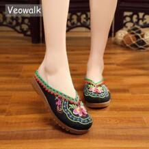 /летние тапочки ручной работы в Непале с вышивкой в исламском стиле, тапочки в китайском стиле, женские сандалии с цветами, обувь черного цвета Veowalk 32786209224