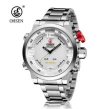 НОВЫЙ модные стильные спортивные водонепроницаемые мужские часы светодио дный цифровой Anolog мужские военные наручные часы для активного отдыха кварцевые часы Dual Time Ohsen 32798639167