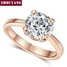 Свадьба для женщин Четыре Коготь 8 мм кубический цирконий помолвка розовое золото цвет Flashion ювелирные изделия подарок девушке другу R333 R335 ZHOUYANG 32280917363