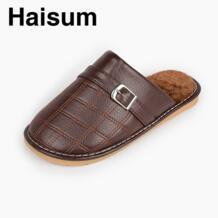 Для мужчин тапочки зимние из натуральной кожи домашние Нескользящие термальные тапочки 2018 Новинка; Лидер продаж H-8008 haisum 32832864573