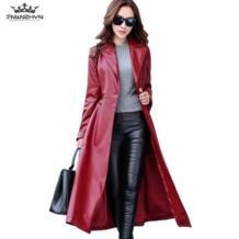 2019 Демисезонный Для женщин кожаная куртка мода высокого класса пальто из искусственной кожи X-Длинные поясом тонкий искусственная кожа Тренч пальто A84 TNLNZHYN 32779262820