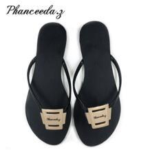 Новинка 2018 года; обувь; женские босоножки; модные Вьетнамки; Летние Стильные тапочки с закрытым мыском на плоской подошве; Бесплатная доставка; большие размеры 6-11 Phanceeda Z 32856833278