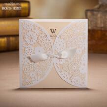 Свадебные приглашения кружева бантом настраиваемый год сбора винограда лазерная резка белый выдалбливают цветы, 100 шт./лот No name 1908416692