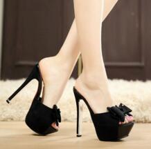 Мода 14 см тонкие каблуки Обувь на высоком каблуке и платформе с открытым носком большой бантик кеды очаровательные туфли-лодочки сандалии тапочки No name 32406509795