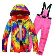 Женские сноуборд снег костюм дамы лыжная куртка и брюки Водонепроницаемый Breathale женский Лыжный Спорт Костюмы Термальность ветрозащитный RIVIYELE 32833454015