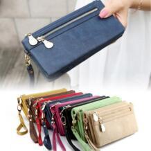 Для женщин Мода Винтаж двойная молния тусклый польский кожа длинная сумка-кошелек WML99 HOBBAGGO 32792842091