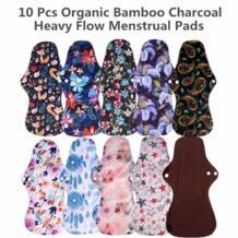 [Simfamily] 10 шт. Уголь органического бамбука Моющиеся гигиенические прокладки с тяжелым потоком санитарные прокладки леди текстильная салфетка многоразовые накладки No name 33023114348