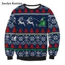 Новый Рождество свитер карта с принтом спортивный свитер женщин Европа и США свободно длинными рукавами футболка No name 32837010067