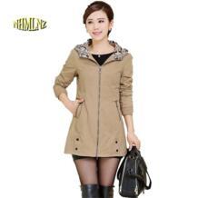 Женский Тренч Демисезонный Новый Для женщин Тренч средней длины пальто с капюшоном сплошной цвет длинным рукавом Тонкий пальто больших ярдов f1008 NHMLNZ 32690045482