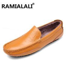 Ramialali Высокое качество Мужская обувь из натуральной кожи Мягкие Мокасины Лоферы для женщин модный бренд Для мужчин Туфли без каблуков удобная обувь для вождения с Мех животных No name 32824295716