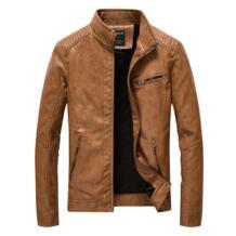 2019 Для Мужчин's Кожаные куртки и пальто Демисезонный бренд Для мужчин тонкий стенд воротник Jaqueta Couro Курточка бомбер искусственная пальто из кожи и меха FAVOCENT 32844095768