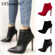 Belle/однотонные женские красные свадебные туфли черного цвета с заостренным носком на молнии сзади; ботинки на высоком каблуке; женские ботильоны DEleventh 32510391911