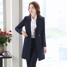 Брючный костюм Для женщин Повседневное офисные Бизнес костюмы Формальные Повседневная обувь комплекты Единые Стили брючный костюм Длинные женские пальто + Штаны комплект из 2 частей Low Luv 32887727821