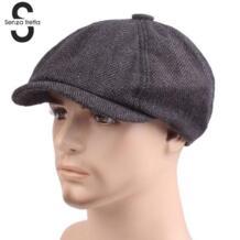 Новая осенне-зимняя мужская плоская кепка серая елочка Newsboy Bakerboy ШЛЯПЫ хлопок берет шляпа в британском ретро-стиле Мужская шерстяная плоская кепка Senza Fretta 32842957818