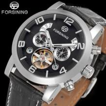 FSG165M3S4 Новая автоматическая модное платье Для мужчин часы tourbillon Серебро наручные часы для Для мужчин Лучший подарок Бесплатная доставка Forsining 1911719186