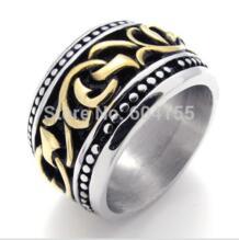 Для мужчин новые ювелирные изделия + 361l из нержавеющей стали черный, серебристый цвет Золотое кольцо Оптовая ювелирные изделия No name 494575337