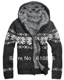 Мужской зимний плюс бархатный, жаккардовый трикотажная верхняя одежда мужской толстый кардиган с капюшоном, свитер Мужская зимняя негабаритная теплая верхняя одежда на молнии No name 618185016