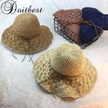 2018 летние Для женщин Floppy простой большой соломенной шляпе леди девушки складной, Шапки взрослого шляпка Doitbest 32856509436