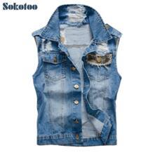 Sokotoo Для мужчин повседневная Камуфляжный дизайн патч джинсовый жилет мужской моды тонкий отверстия рваные пальто майка Бесплатная доставка No name 32275642283