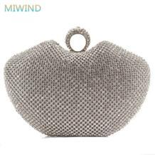 Супер Полный алмаз вечерние клатчи палец кольцо в форме сердца стразы вечерняя сумка/сумки золото/серебро/ черный EB17 No name 2009401214
