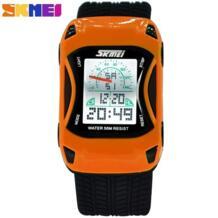 2017 горячие детские часы силиконовые желе водонепроницаемые спортивные наручные часы для плавания для детей автомобиль стиль цифровой светодиодный Мультфильм часы для мальчика SKMEI 32253834103