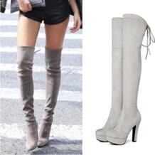 Большие размеры 34–43 новые модные на платформе сапоги выше колена Обувь на высоком каблуке с круглым носком облегающие сапоги весна-осень Женские ботинки NeMaoNe 32809545126